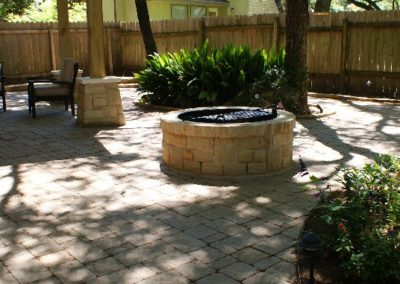 Pavers, masonry, and firepit