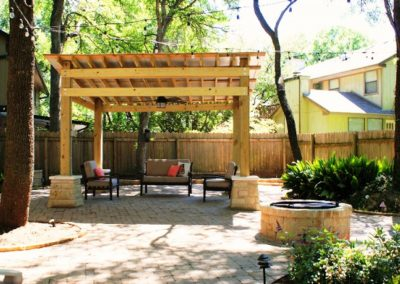 Pavers, masonry, and pergola
