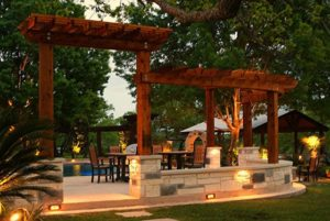 Pergola with LED lighting