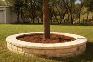 Tree border with mixed limestone